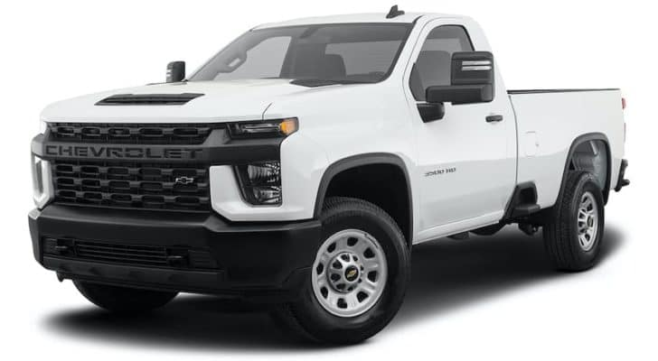A white 2021 Chevy Silverado 3500 HD is angled left.