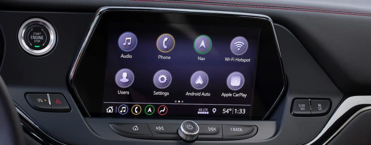 A close up shows the infotainment screen in a 2022 Chevy Blazer.