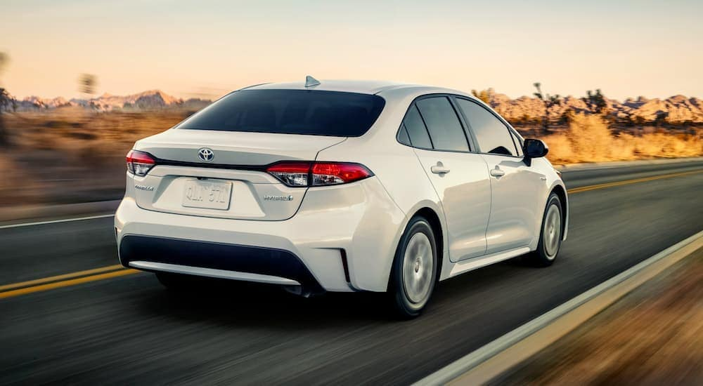 A white 2020 Toyota Corolla is shown driving down a highway.