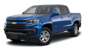 A blue 2022 Chevy Colorado is angled left.