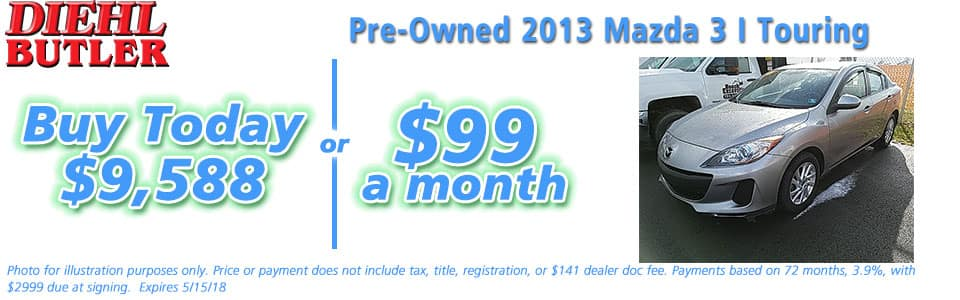 Pre-Owned 2013 Mazda3 i Touring Diehl of Butler Chrysler Jeep Dodge Ram Toyota Volkswagen Butler PA 16002