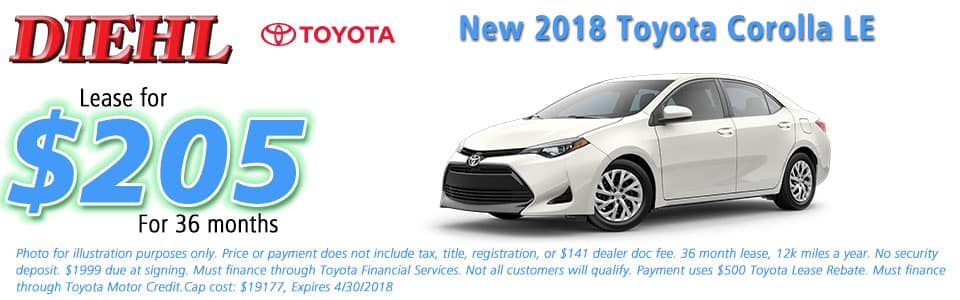 New 2018 Toyota Corolla LE FWD 4D Sedan Diehl Toyota of Butler 258 pittsburgh road, Butler, PA 16002