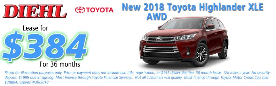 New 2018 Toyota Highlander XLE AWD Diehl Toyota of Butler 258 pittsburgh road, Butler, PA 16002