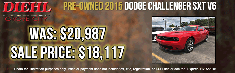 Diehl of Butler pre-owned vehicles sales service parts collision used new  Pre-Owned 2015 Dodge Challenger SXT