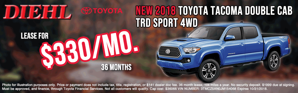 T180567-2018-TACOMA-DOUBLE-CAB-TRD-SPORT-butler new vehicle specials diehl of butler new vehicle specials jeep specials ram specials dodge specials Chrysler specials toyota specials new specials cdjr specials diehl auto diehl specials butler pa 16001 diehl Toyota of butler pa