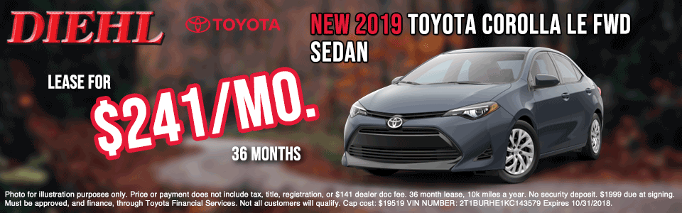 T190709-Corolla-LE butler new vehicle specials diehl of butler new vehicle specials jeep specials ram specials dodge specials Chrysler specials toyota specials new specials cdjr specials diehl auto diehl specials butler pa 16001 diehl Toyota of butler pa