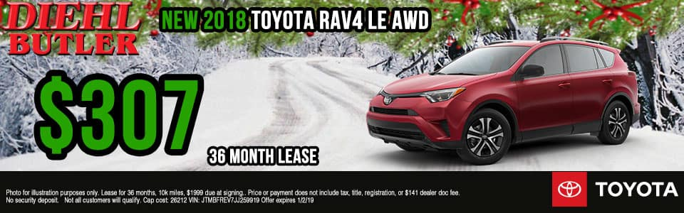 Diehl Toyota of Butler, PA new and used vehicle sales, service, parts, and accessories. Chrysler jeep dodge ram toyota volkswagen New 2018 Toyota RAV4 LE AWD
