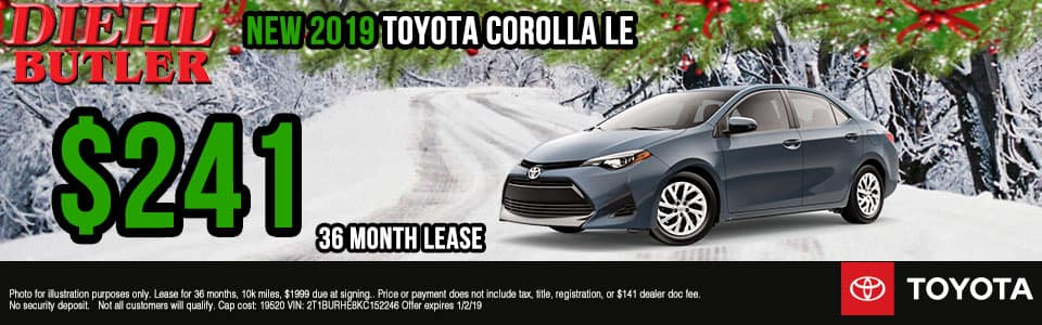 Diehl Toyota of Butler, PA new and used vehicle sales, service, parts, and accessories. Chrysler jeep dodge ram toyota volkswagen New 2019 Toyota Corolla LE FWD 4D Sedan