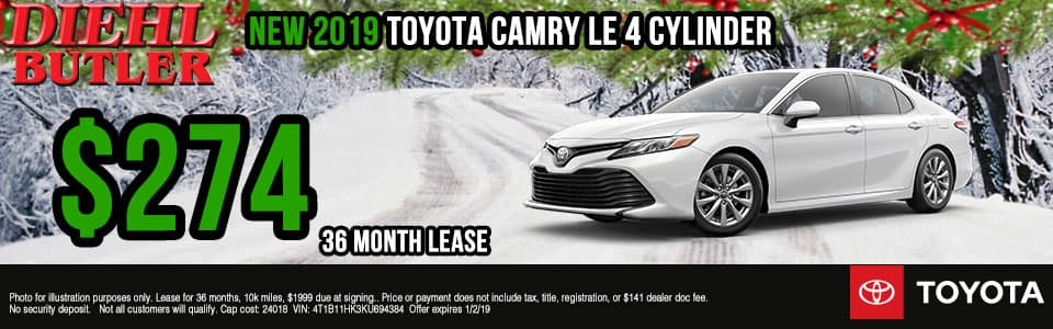 Diehl Toyota of Butler, PA new and used vehicle sales, service, parts, and accessories. Chrysler jeep dodge ram toyota volkswagen New 2019 Toyota Camry LE FWD 4D Sedan
