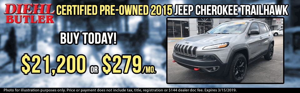 pre-owned vehicle specials used vehicle specials certified pre-owned specials butler pa diehl autotmove J170871a jeep cherokee trailhawk