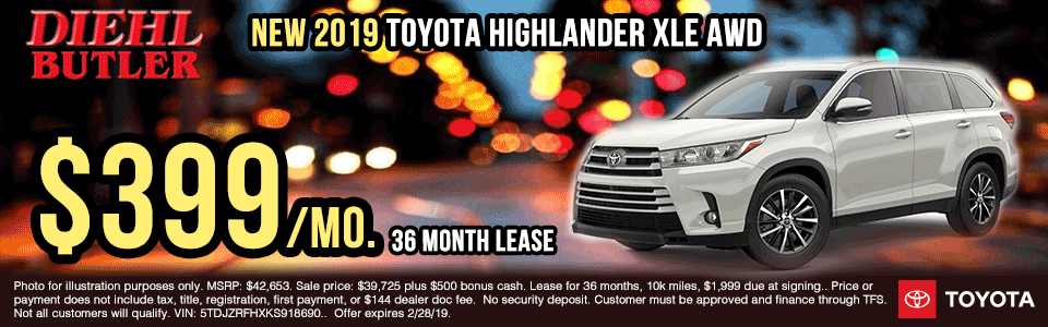 T190921-2019-xle-highlander-awd lease specials new vehicle specials diehl toyota specials butler specials diehl automotive diehl auto specials