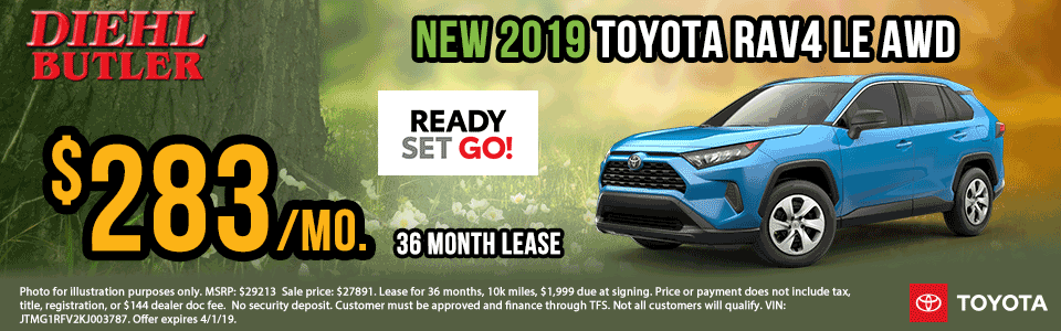 Diehl Automotive Chrysler Jeep Dodge Ram Toyota Volkswagen Chevrolet Buick Cadillac. Butler, Robinson, Grove City, Salem, OH. New and used sales, parts, accessories, service. New 2019 Toyota RAV4 LE AWD