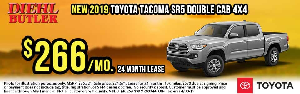 T190437-tacoma-sr5-double-cab Diehl toyota butler diehl auto Toyota specials new vehicle specials lease specials butler pa truck suv sedan hatchback