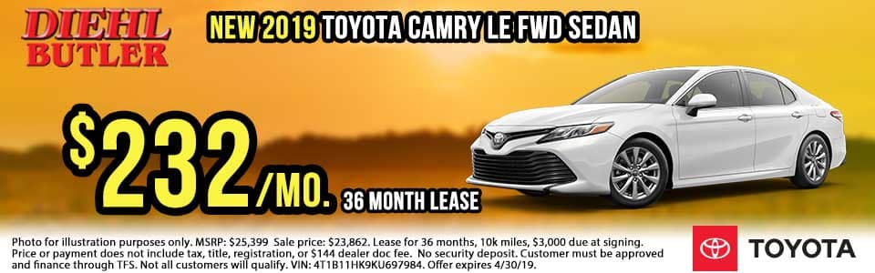 T191071-2019-camry-le Diehl toyota butler diehl auto Toyota specials new vehicle specials lease specials butler pa truck suv sedan hatchback