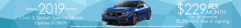 2019 Civic Si Lease