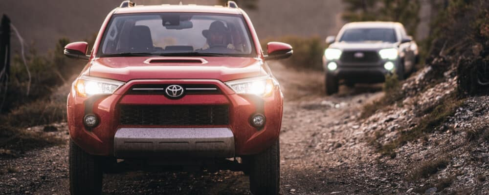 2021 Toyota 4runner driving on dirt road