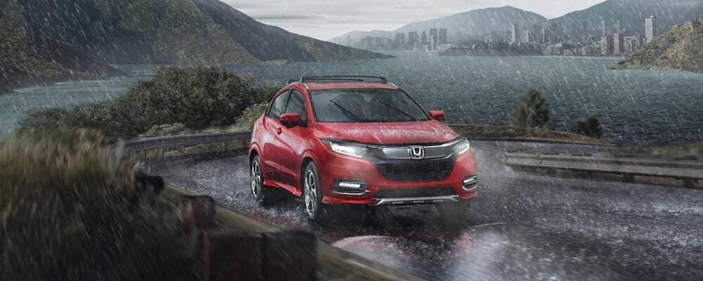 2020 Honda HR-V on a rain filled road