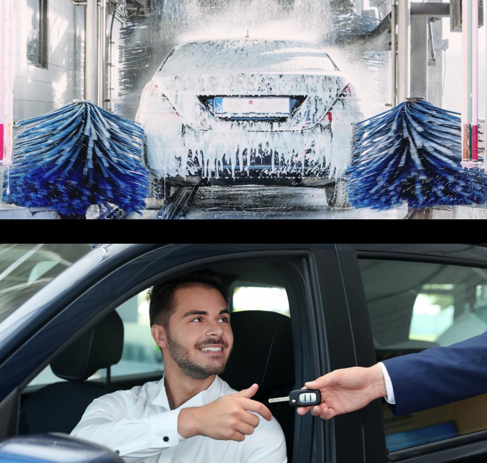 car wash and exchange of keys