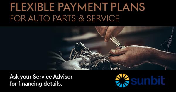 Flexible Payment Plans for Auto Parts & Service. Powered by Sunbit.
