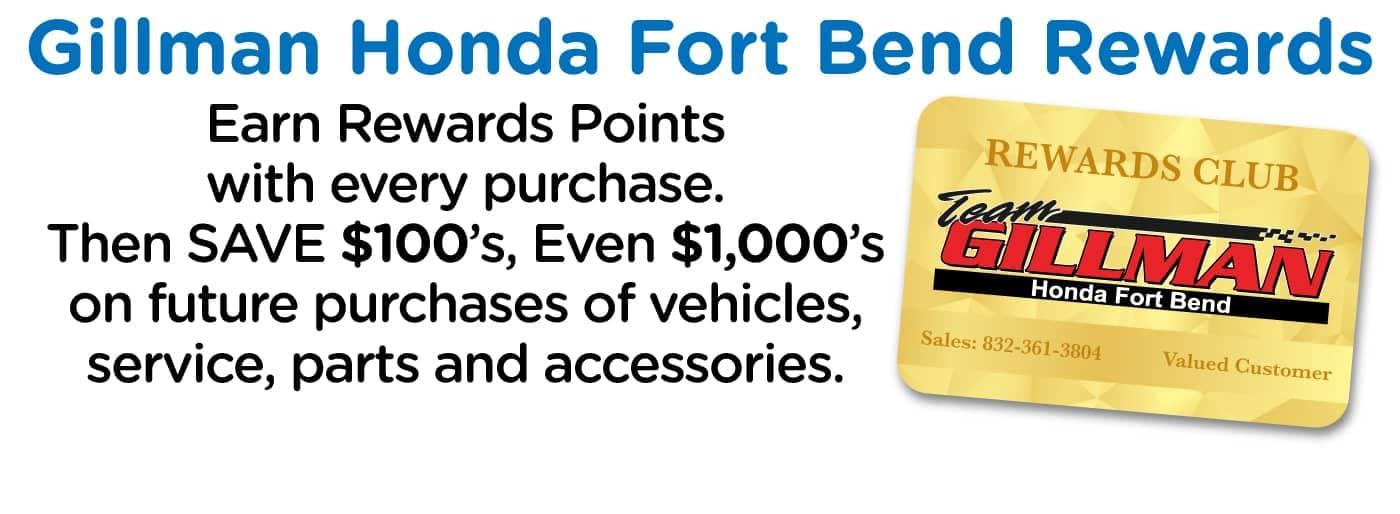gillman honda fort bend rewards banner