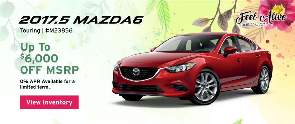 Up to $6,000 off MSRP on the 2017.5 Mazda6 Touring. 0% APR available for a limited term. View inventory.