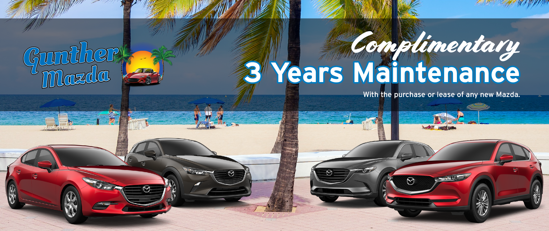 Gunther Mazda. Complimentary 3 years maintenance with the purchase or lease of a new Mazda from Gunther Mazda.