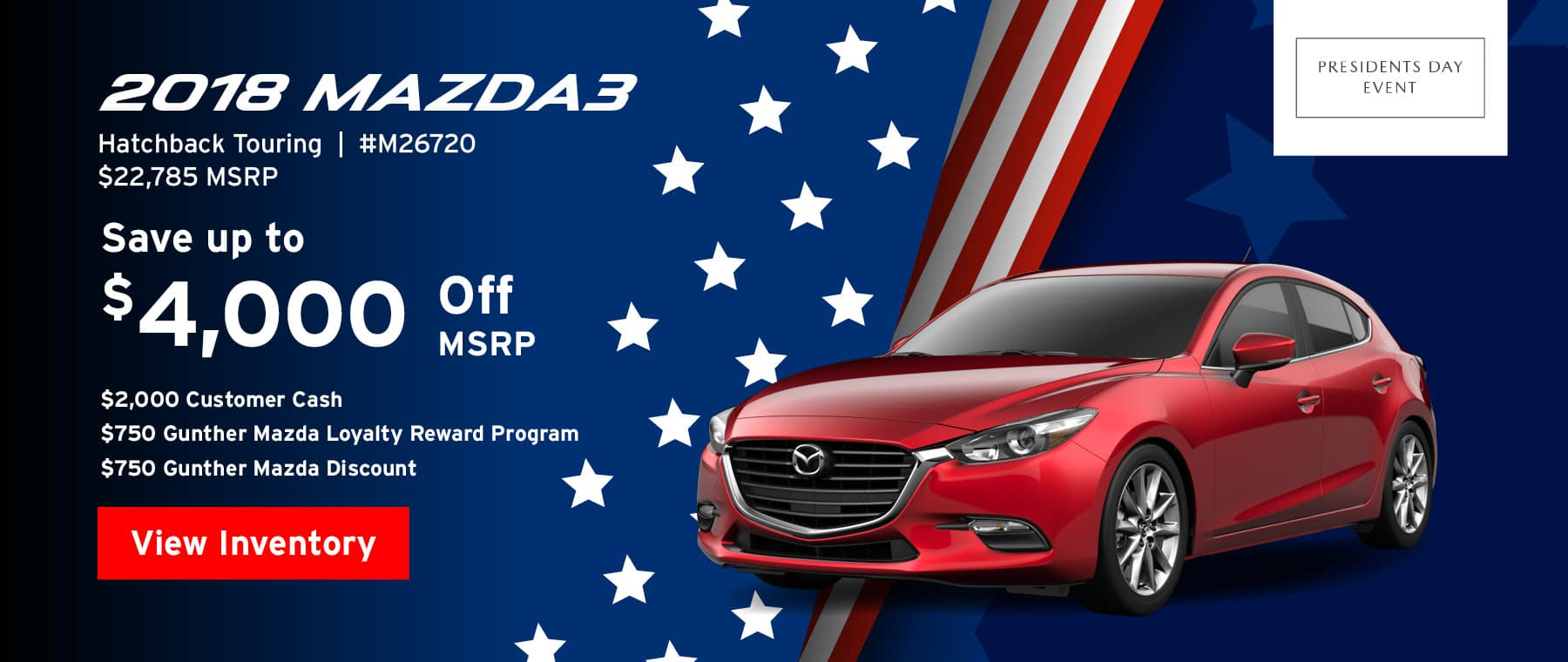 Save up to $4,000 off msrp on the 2018 Mazda3 Hatchback touring.