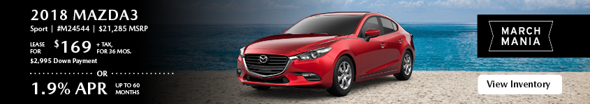 Lease the 2019 Mazda3 Sport for $169, plus tax for 36 months.