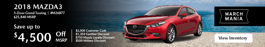 Save up to $4,500 off msrp on the 2018 Mazda3 5-Door Grand Touring.