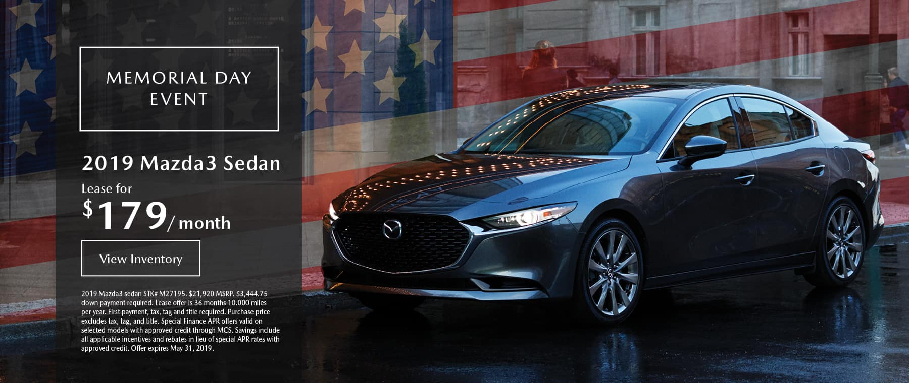 Lease the 2019 Mazda3 sedan for $179 per month, plus tax