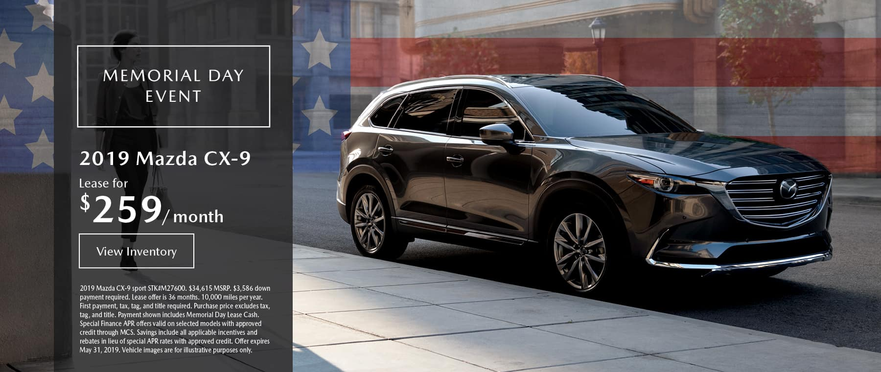 Lease the 2019 Mazda CX-9 for $259 per month, plus tax