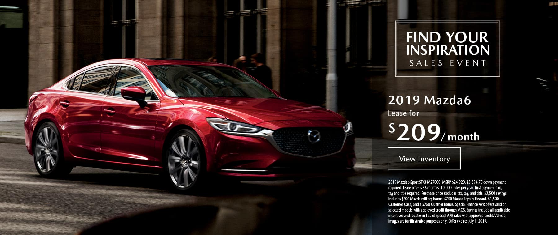 Lease the 2019 Mazda6 for $209 per month, plus tax.