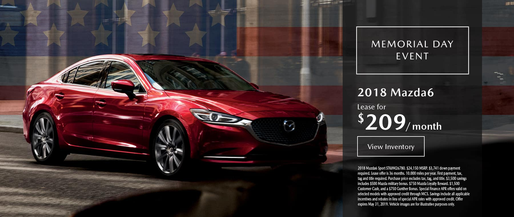 Lease the 2019 Mazda6 for $209 per month, plus tax