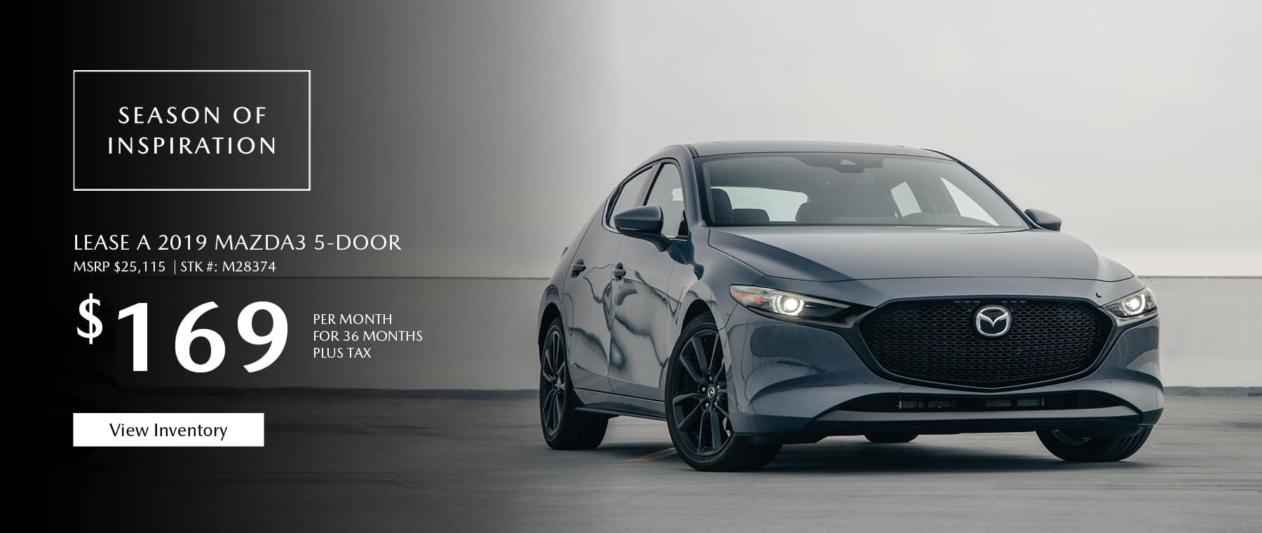 Lease the 2019 Mazda3 hatchback for $169 per month, plus tax.