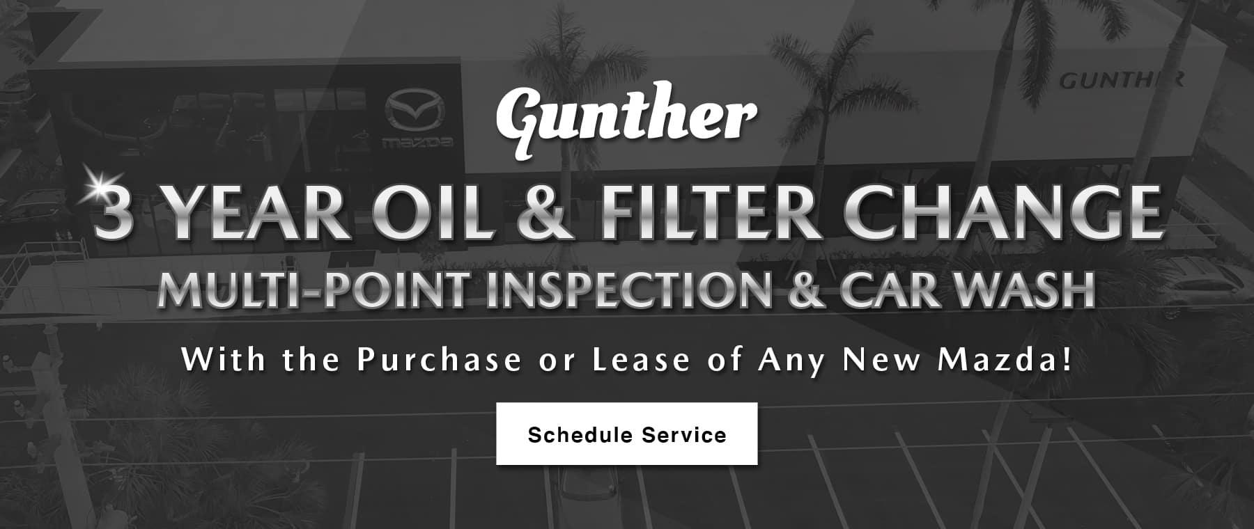3-Year oil & filter change, multi-point inspection & car wash with the purchase or lease of any new Mazda! Click or tap to schedule service.