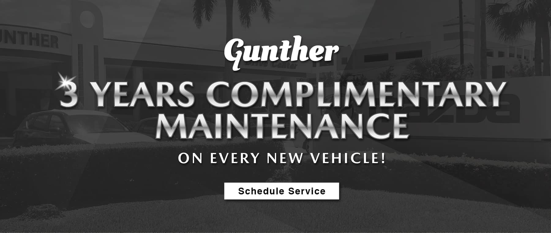 Gunther 3 Years Free Maintenance on every new vehicle. Schedule Service