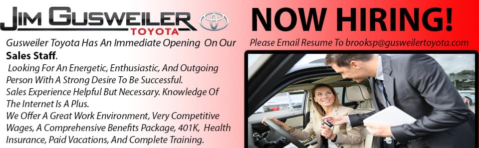 now hiring at gusweiler toyota