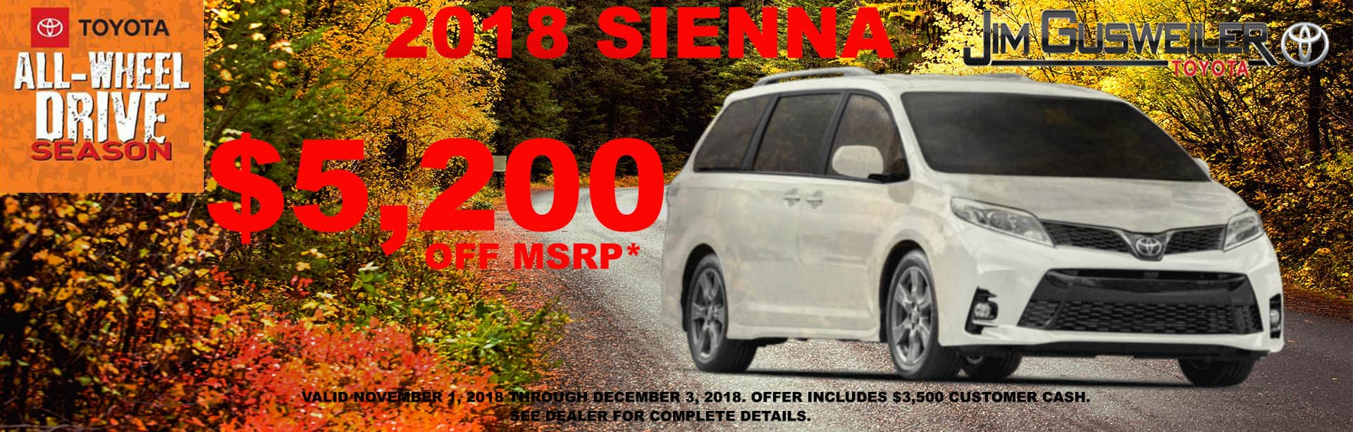 2018 Toyota Sienna Expires Dec 3rd