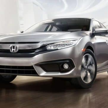 Silver 2018 Honda Civic touring front from low angle