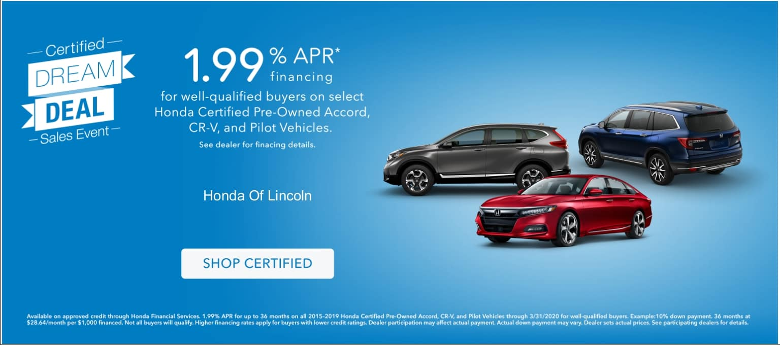 Honda Certified PreOwned Dream Deal Sales Event