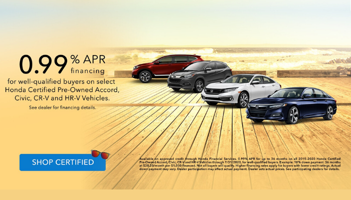 Certified Pre-Owned Accord, Civic, CR-V and HR-V Special Financing