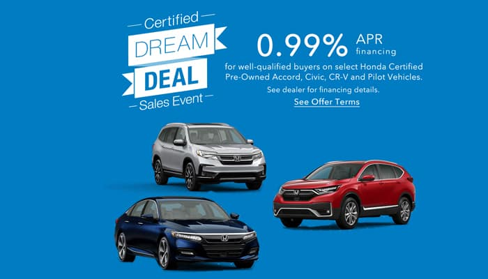 Certified Pre-Owned Accord, CR-V Pilot and Civic Special Financing