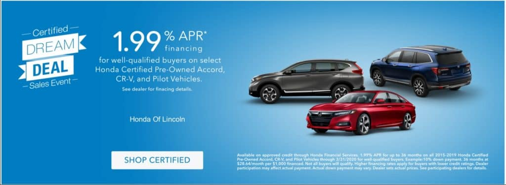 Certified Pre-Owned Accord, CR-V and Pilot Special Financing