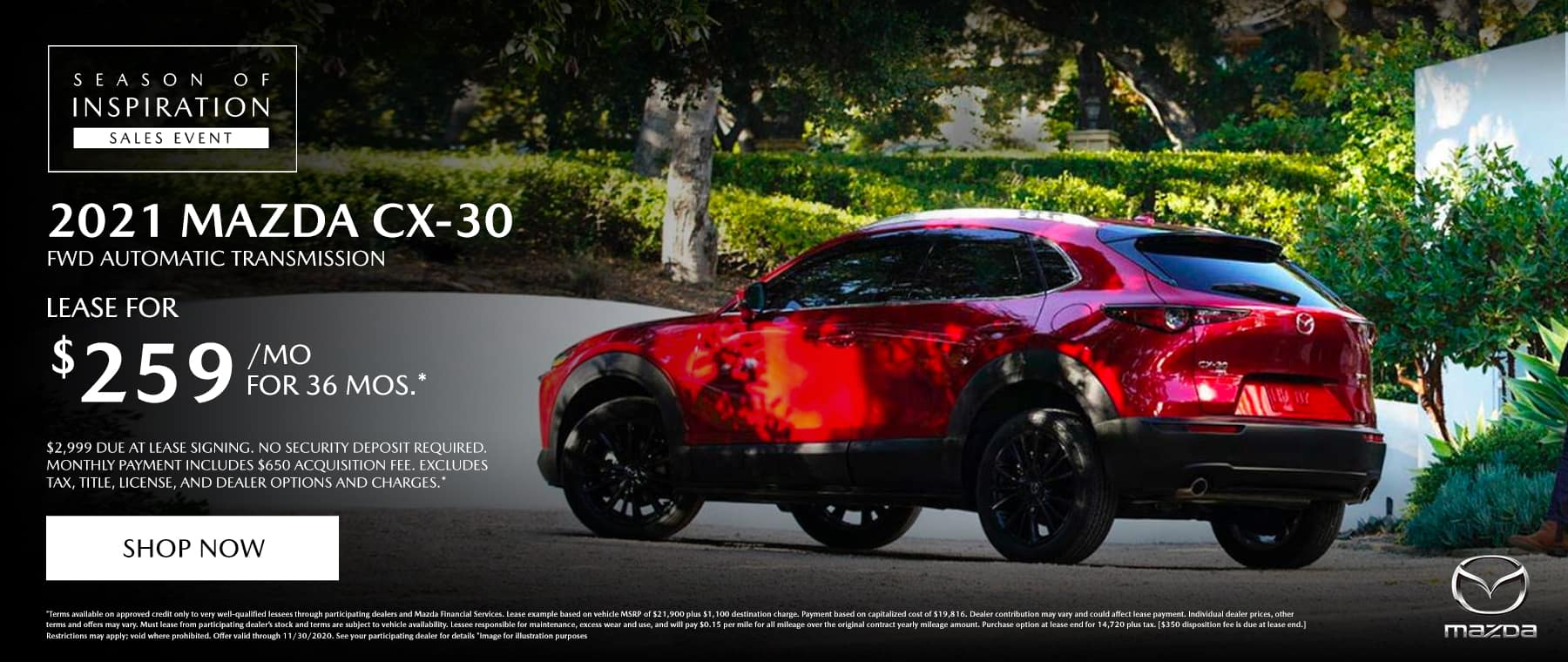 2021 Mazda CX-30 lease for $209 a month / 36 months
