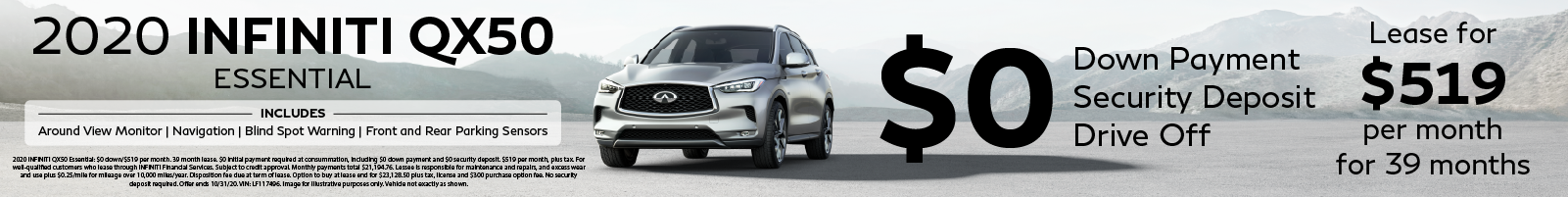 Lease a 2020 QX50 Essential for $519 per month for 39 months with 0 down!