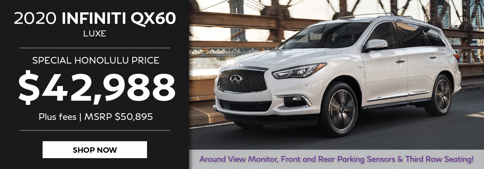2020 INFINITI QX60 special priing offer. Click to shop now.