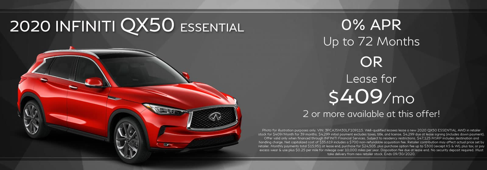2020 QX50 Essential. Lease for 409/Month or 0% APR up to 72 Months. Red QX50 on a sunset background.