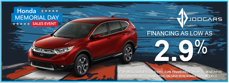 Check out our Memorial Day offers on the Honda CRV