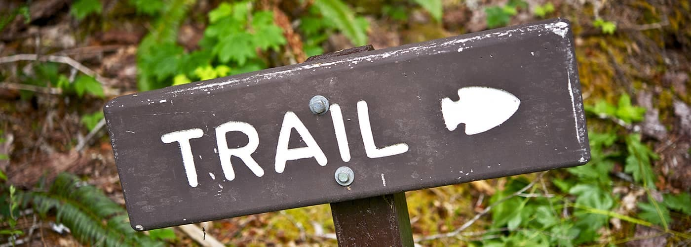 Trail Sign on Hiking Trail