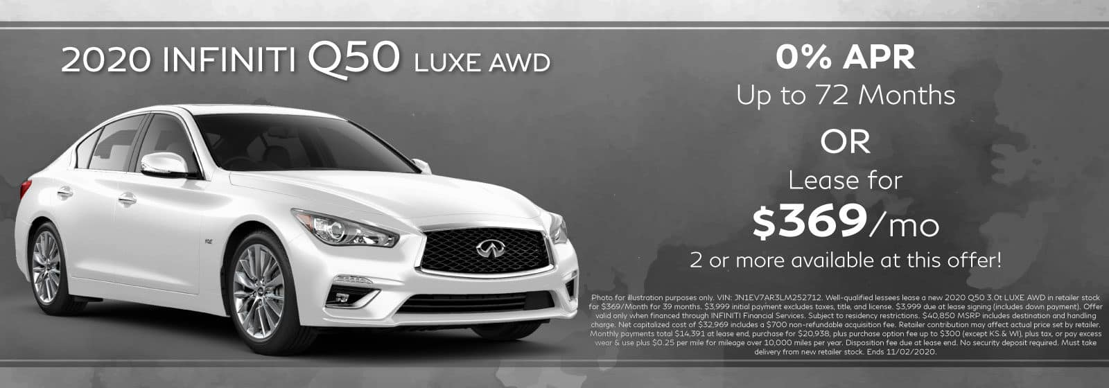 2020 Q50 Luxe. Lease for $369/Month or 0% APR for up to 72 Months. White Q50 with abstract background
